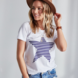 Evie Star Tee (White/Navy)