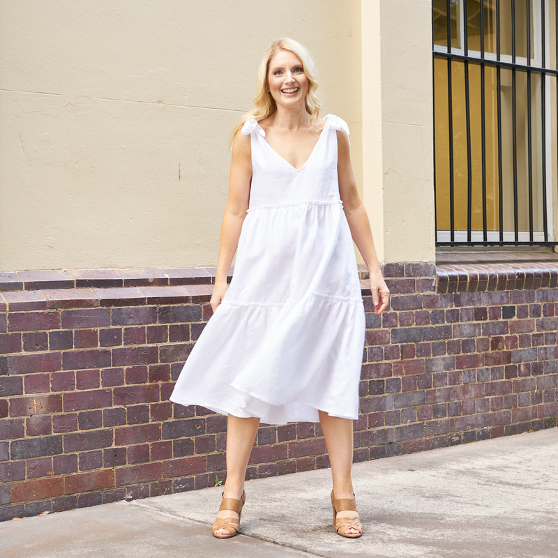 Ostuni Linen Dress (White)