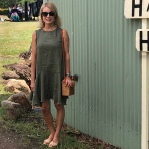Positano Linen Dress (Khaki)
