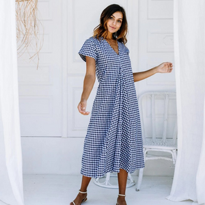 Lulu Dress (Navy Gingham)