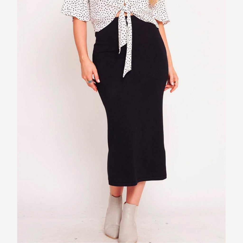 Mabel Knit Skirt (Black)