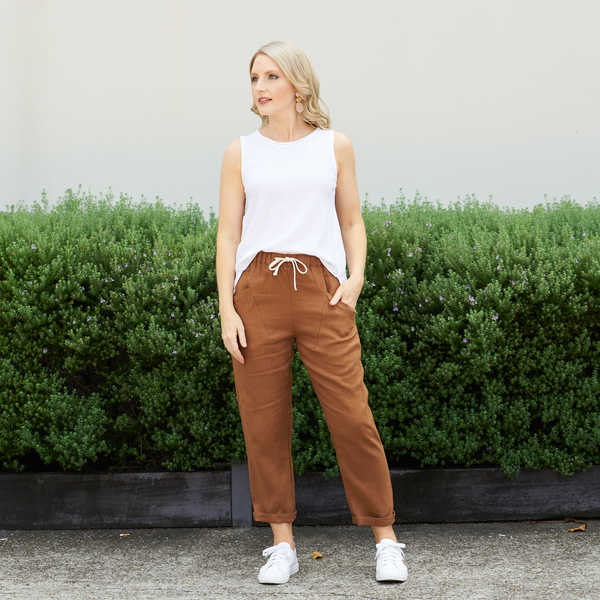 Luxe Linen Pants (Brown)