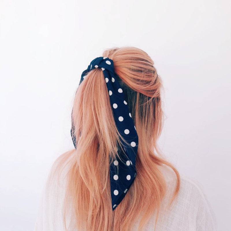 Spotted Hair Scarf (Navy)