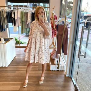 Kayla Linen Dress (White Floral)