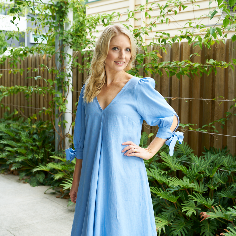 Elora Linen Dress (Cornflower Blue)