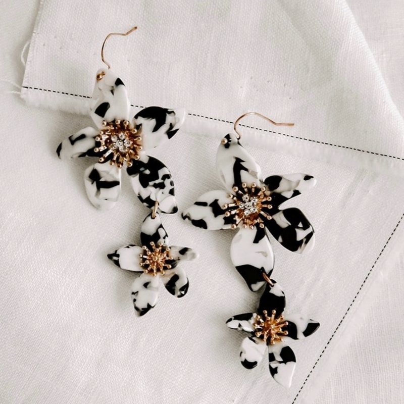 Lillie Resin Earrings (Black)