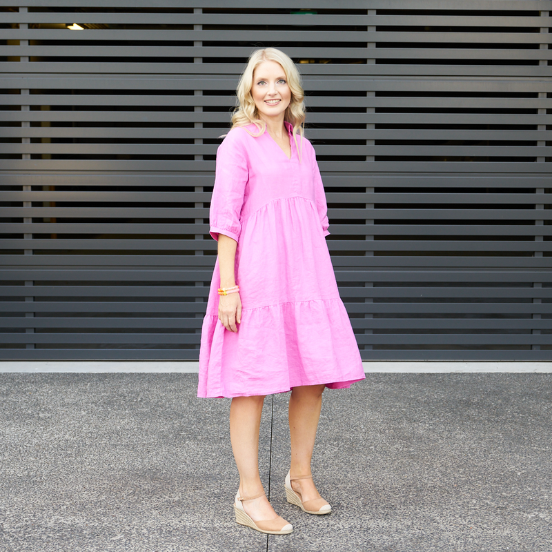 Giles Tiered Dress (Pink)