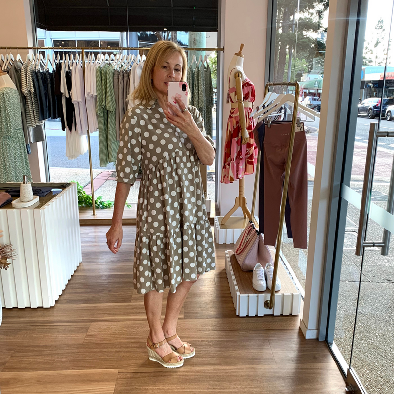 Lila Spotted Dress (Khaki)