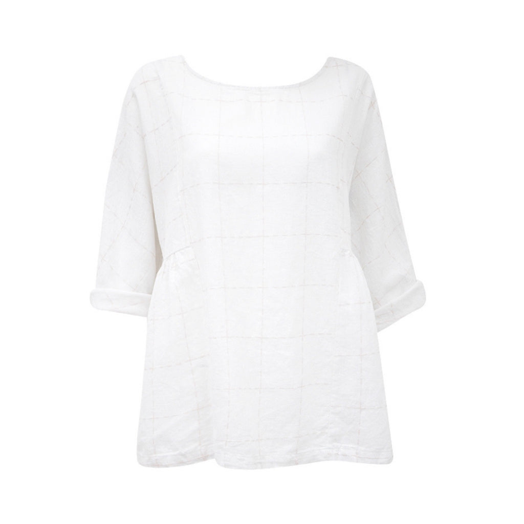Mila Linen Top (White)