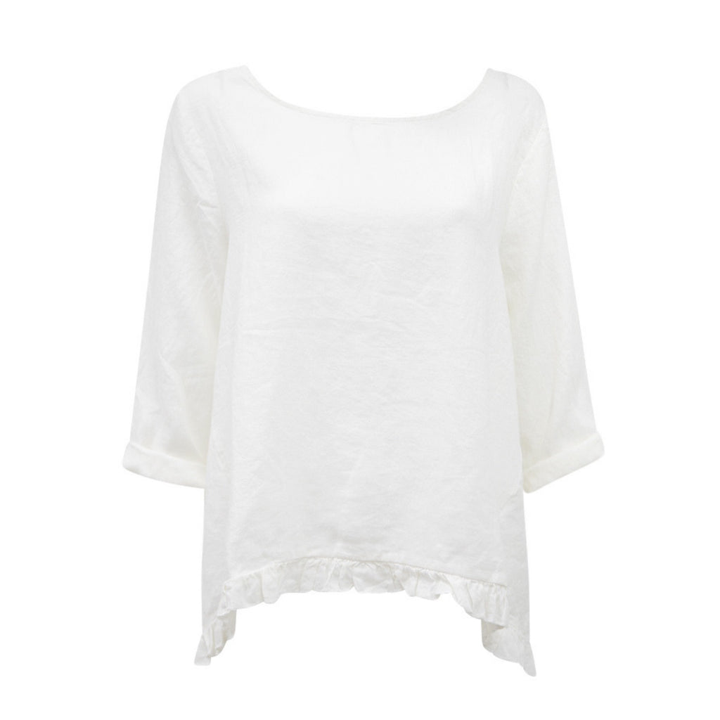 Frankie Linen Top (White)