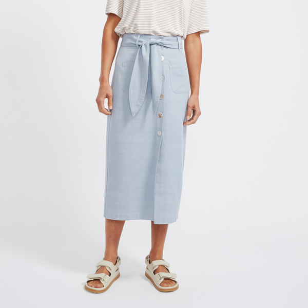 Elise Midi Skirt (Dusty Blue)