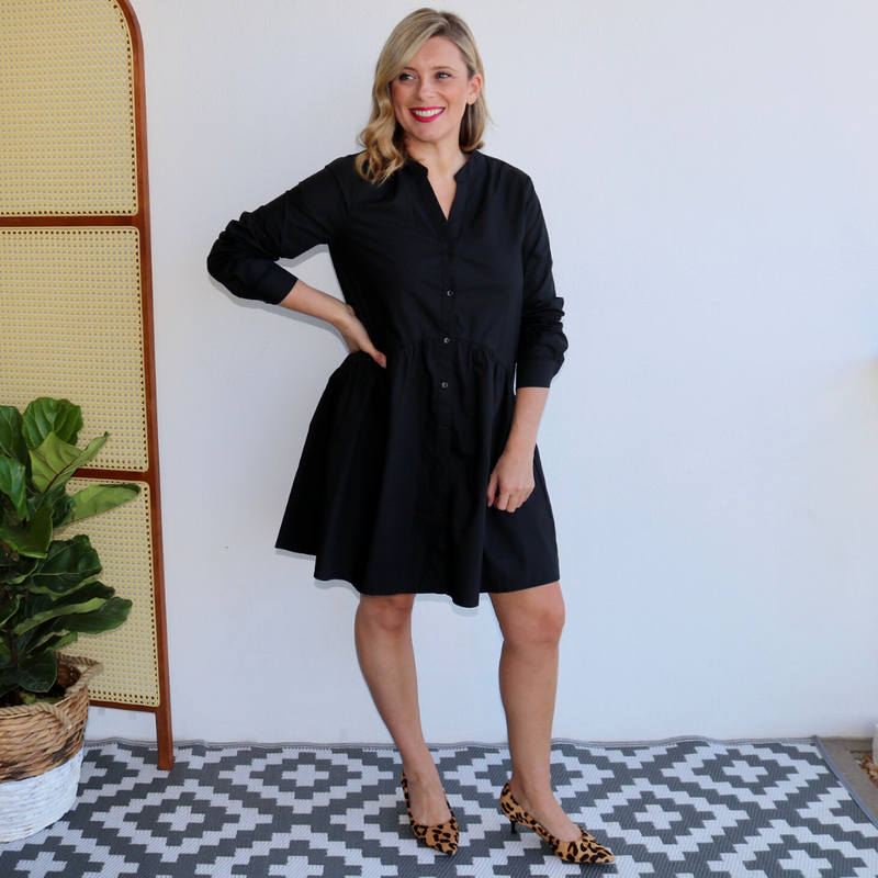 Essie Shirt Dress (Black)