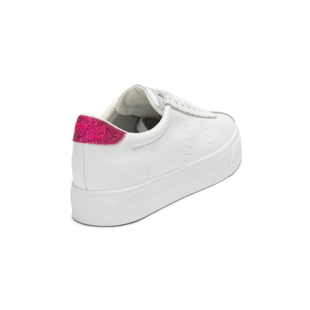 Superga 2854 Club 3 Leather Sneakers (White/Fuchsia Glitter)