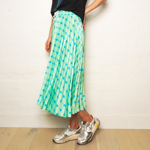 The Others Gingham Pleated Skirt (Lime)