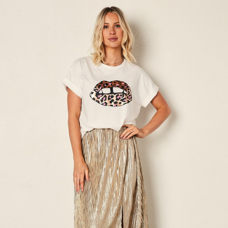 The Others Leopard Lips Tee (White)