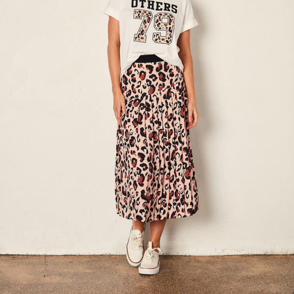 The Others Leopard Pleated Skirt
