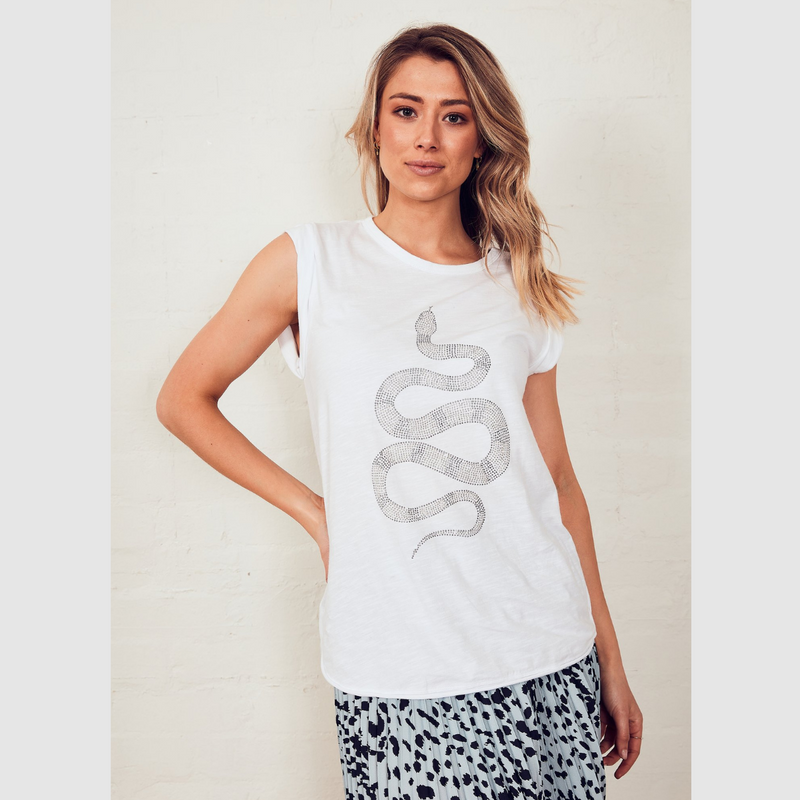 The Others Sequin Python Tank (White)