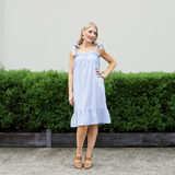 Tickled Pink Cotton Bow Dress (Blue & White Stripe)
