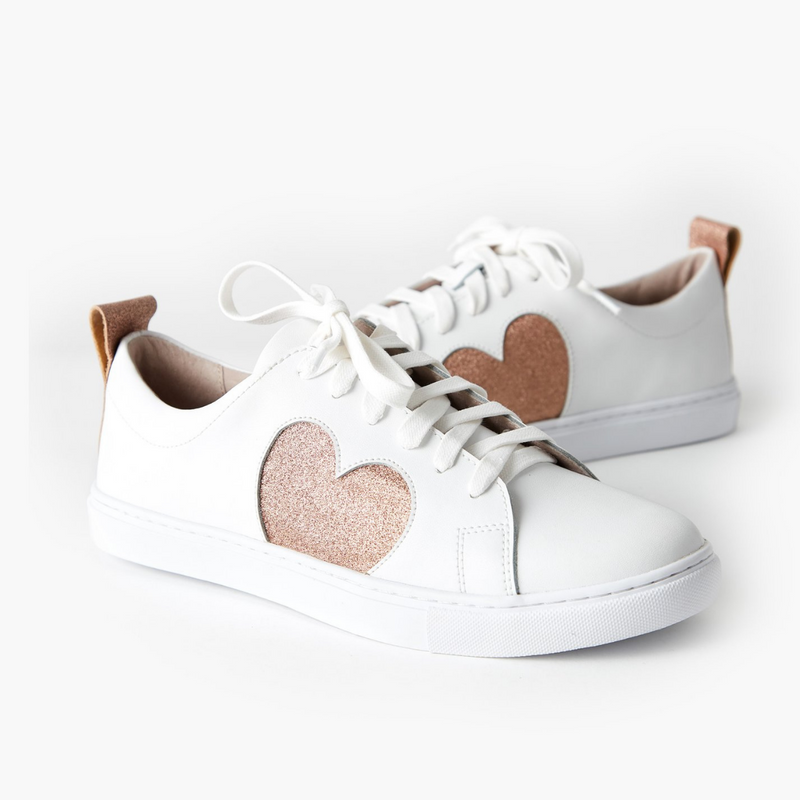 Walnut Heart Leather Sneakers (Rose Glitter)