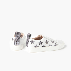Walnut Haven Leather Sneakers (Charcoal Glitter Star)