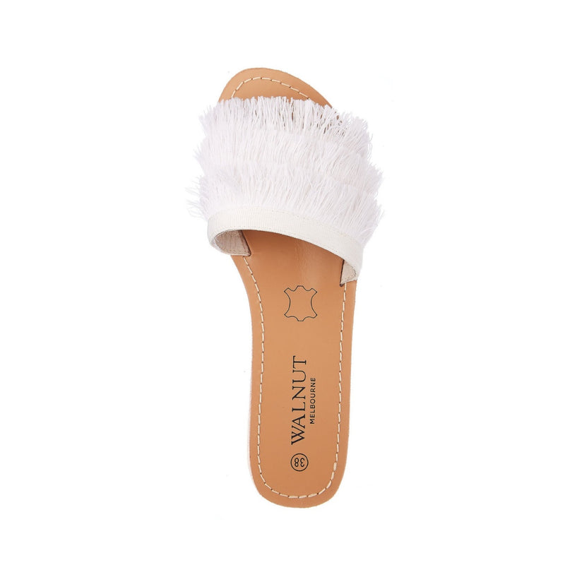 Walnut Mykonos Fringe Slides (White)