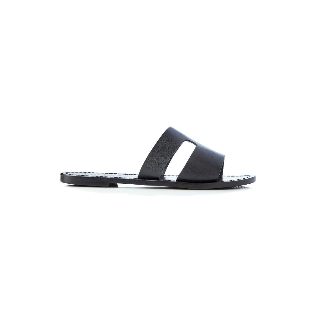 Walnut Sienna Leather Slides (Black)