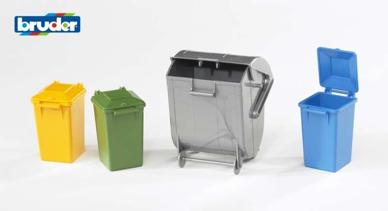 Garbage Can Set 4 pieces - Bruder