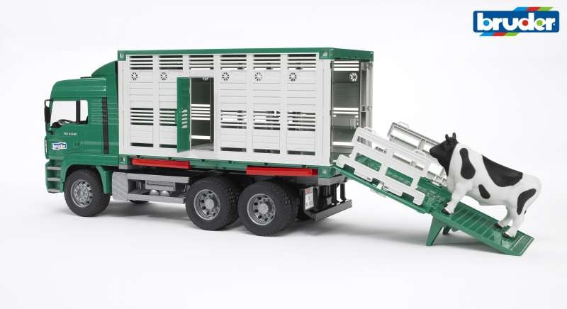 MAN Rear Loading Cattle Truck with Cow 1:16 - Bruder