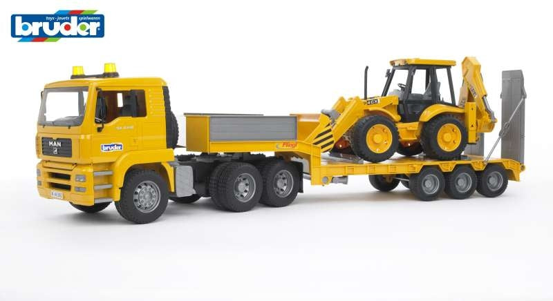MAN TGA Low Loader with JCB 4CX Backhoe 1:16 - Bruder