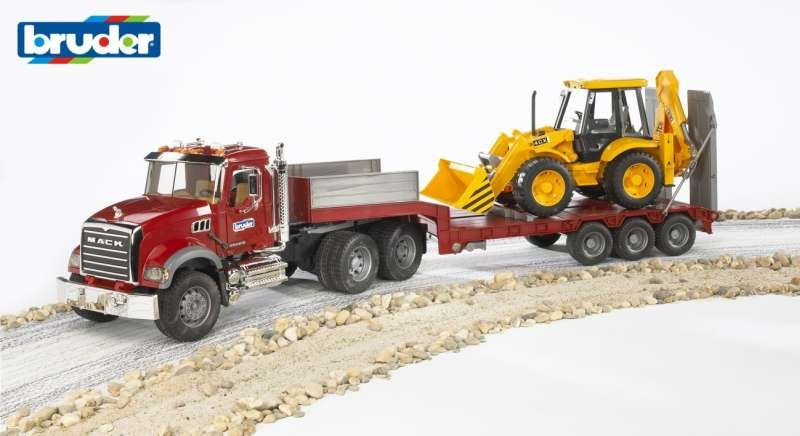 MACK Granite Low Loader with JCB 4CX Backhoe 1:16 - Bruder