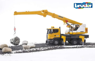 Scania R-Series Leibherr Crane Truck with Lights & Sound 1:16 - Bruder play
