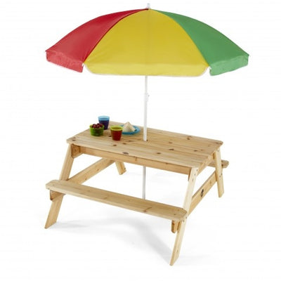 Wooden Picnic Table with Parasol - Plum