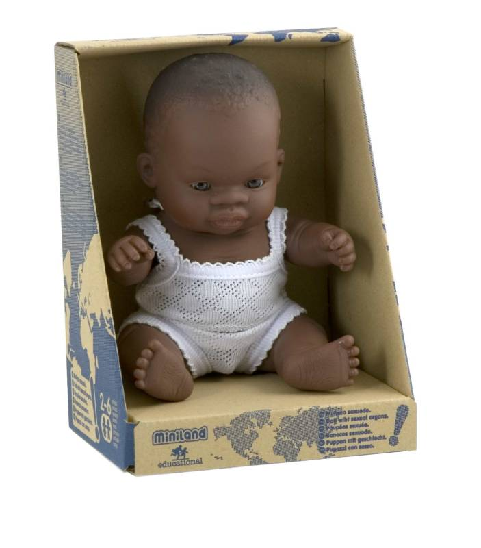 African Girl 21cm Baby Doll - Miniland
