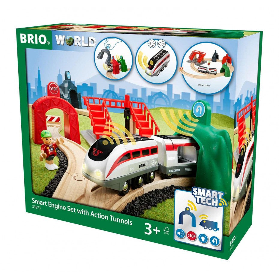 Smart Tech Engine Railway Set with Action Tunnels - Brio