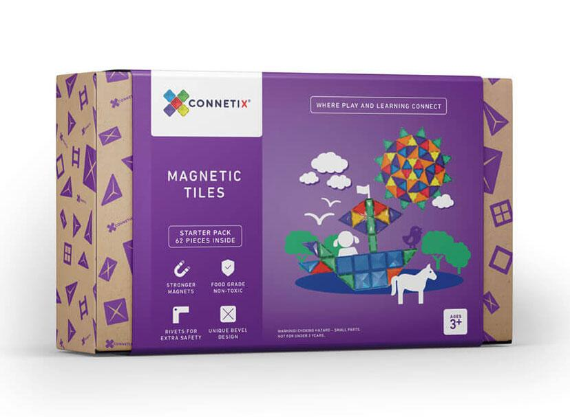 Starter Pack 62pc Magnetic Tiles - Connetix
