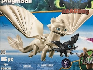Light Fury with Kids and Baby Dragon - Playmobil