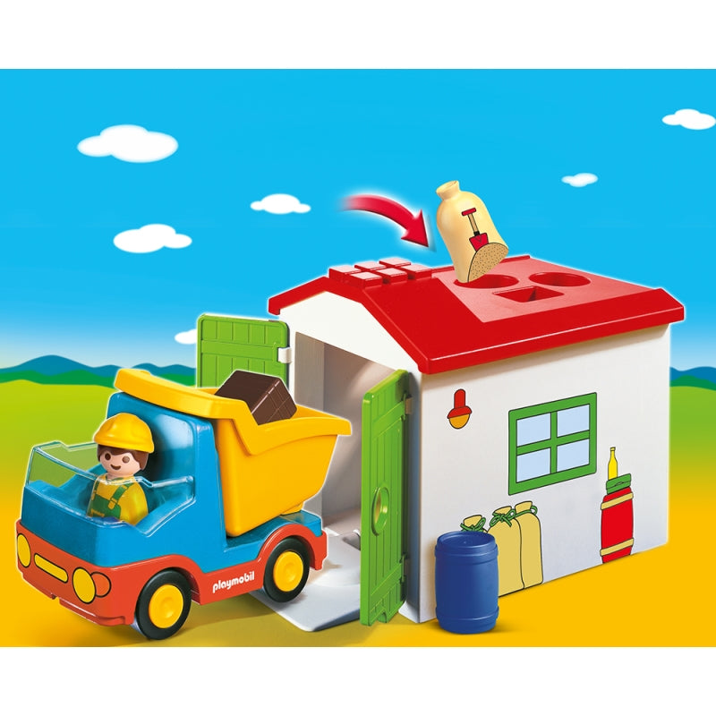 1.2.3 Dump Truck with Garage - Playmobil