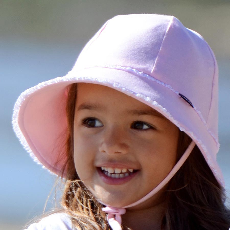 Blush Ruffle Trim Baby Bucket Hat - Bedhead Hats