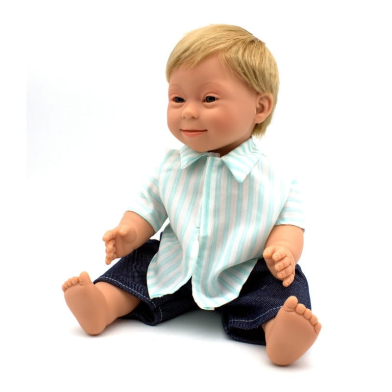 Downs Syndrome Boy Blond 40cm Doll