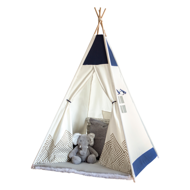 Gold Cloud Navy Blue Teepee - Cattywampus