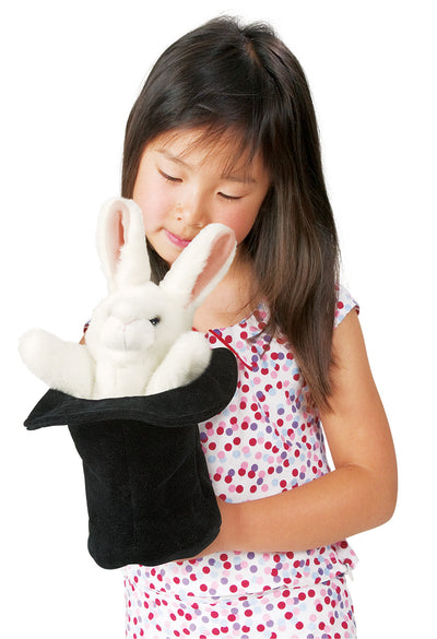 Rabbit in Hat Hand Puppet - Folkmanis