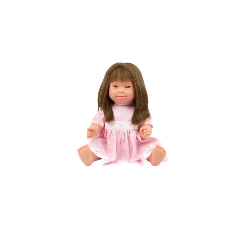 Downs Syndrome Girl Brunette 40cm Doll