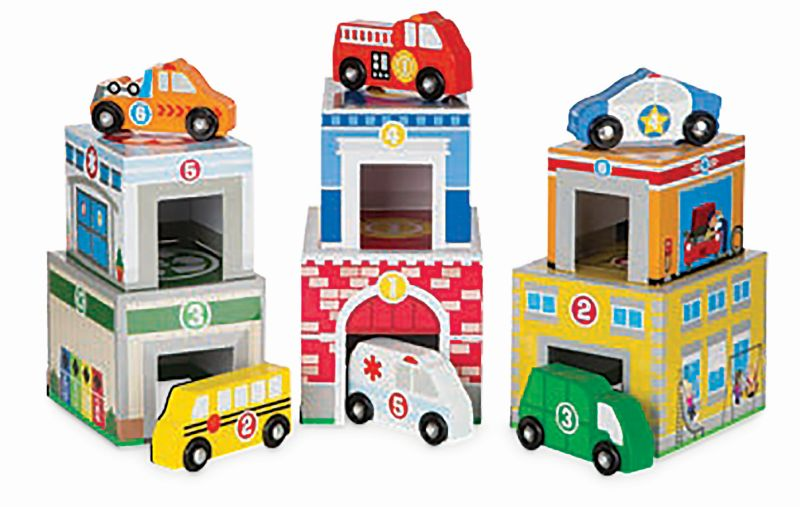 Nesting and Sorting Buildings and Vehicles - Melissa and Doug