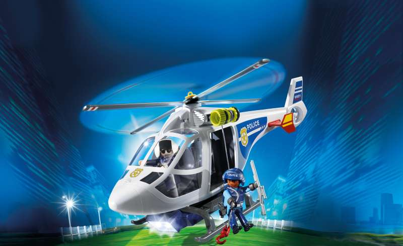 Police Helicopter with LED Searchlight - Playmobil