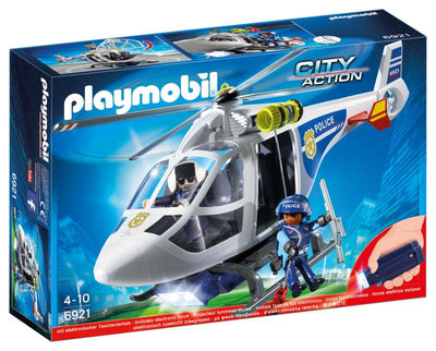 Police Helicopter with LED Searchlight - Playmobil - box