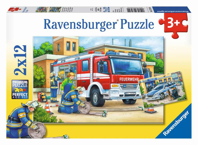 Police and Firefighters Puzzle 2x12pc - Ravensburger