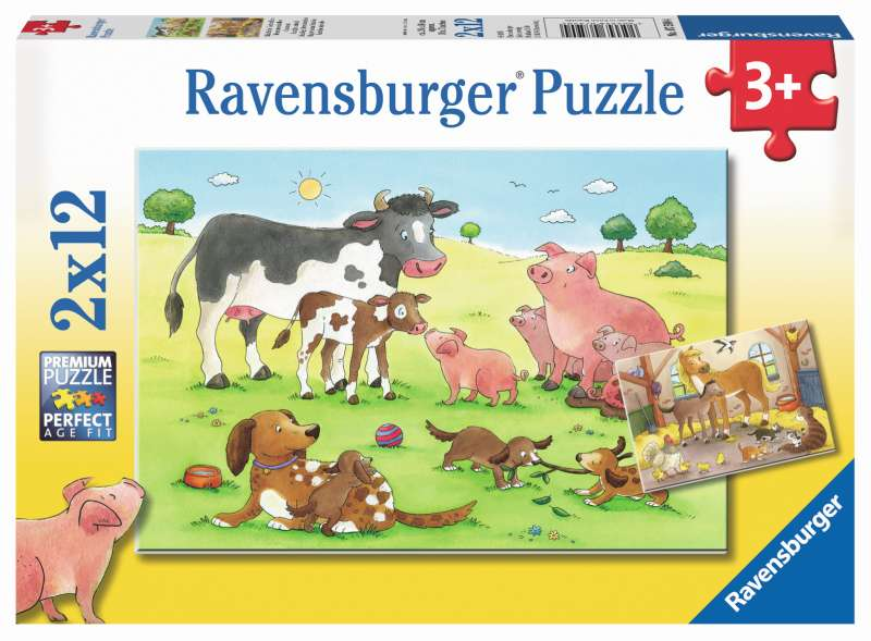 Happy Animal Families 2x12pc Puzzles - Ravensburger