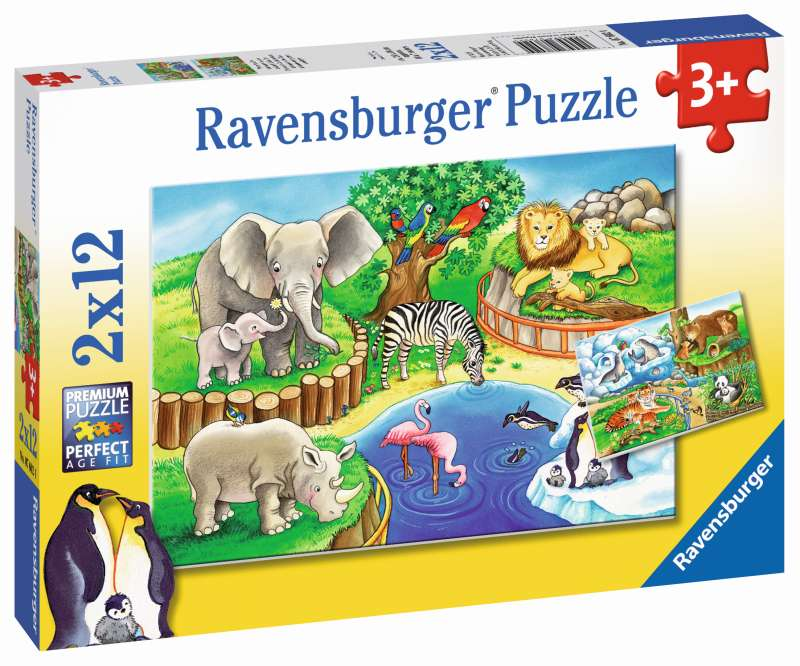 Animals in the Zoo 2x12pc Puzzles - Ravenburger