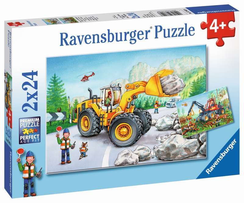 Diggers at Work Puzzle 2x24pc - Ravensburger
