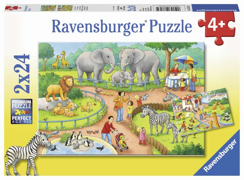 A Day at the Zoo 2x24pc Puzzles - Ravensburger